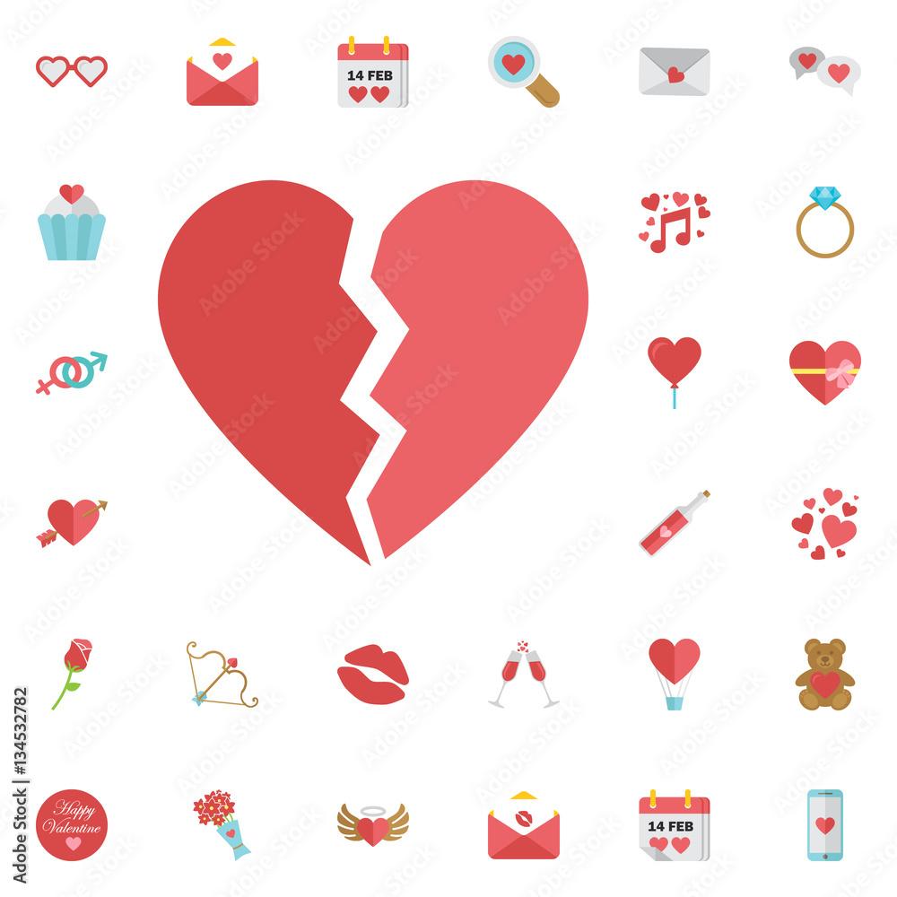 Photo & Art Print Red heartbreak / broken heart or divorce flat icon ...