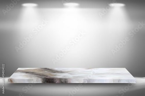 Keuken foto achterwand Licht, schaduw Empty top white marble shelves or marble table on gray gradient background with spotlight / for product display montage product display