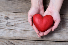 Red Hart On Palms - Love Symbol