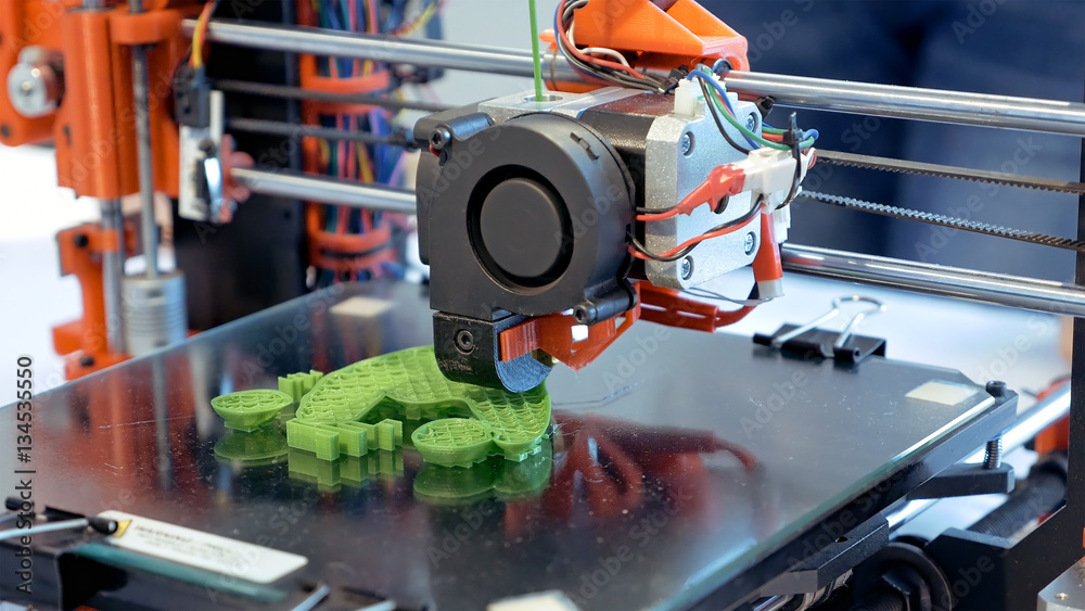 Fototapety, obrazy: Automatic three dimensional 3d printer performs product creation. Modern 3D printing or additive manufacturing and robotic automation technology.