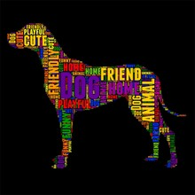 Dog Typography Word Cloud Colorful Vector Illustration