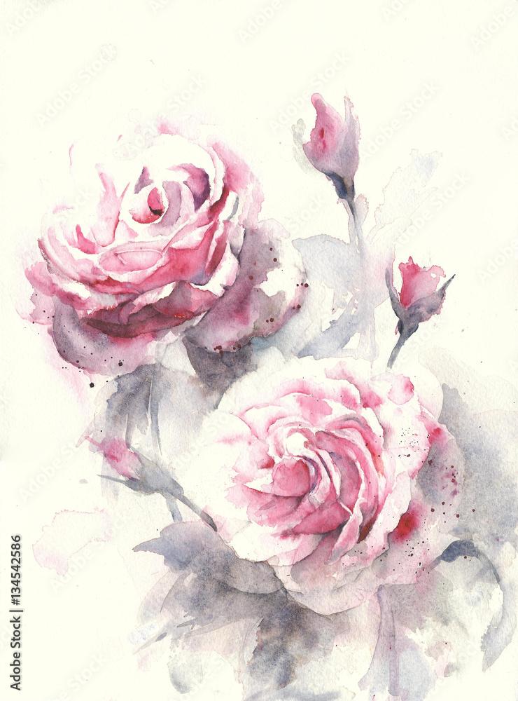Róża kwitnie akwarela obrazu ilustraci kartka z pozdrowieniami