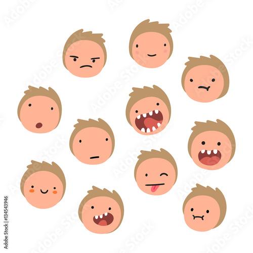 Deurstickers Babykamer Boy emotions. Cartoon faces. Vector hand drawn illustration.