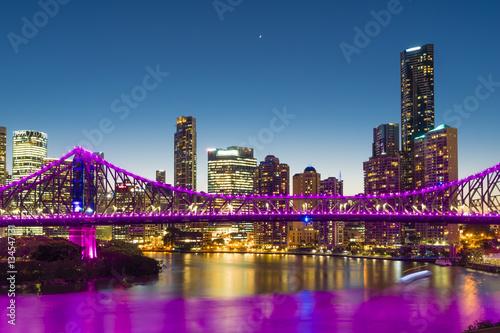 Bridge and skyscrapers in Brisbane at twilight