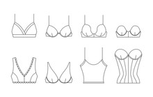 Fashion Female Underwear Icons. Beautiful Feminine Lacy Bra. Sexy Lingerie With Lace For Lady, Different Types Of Brassiere. Vector Illustrations In Thin Line Style.