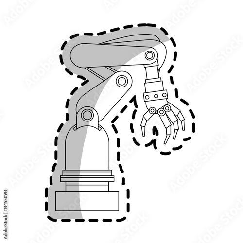 robotic arm, industrial robot machine icon over white