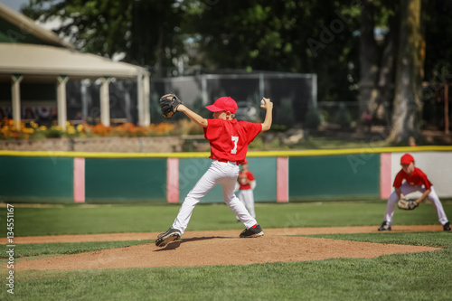 Photo  Young pitcher on the mound in a youth baseball game
