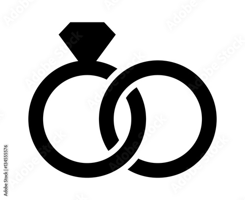 Fototapeta Wedding rings with diamond linked together in the symbol of marriage flat vector