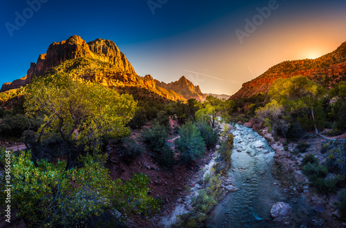 Fotobehang Natuur Park Zion National Park Virgin River and The Watchman at Sunset