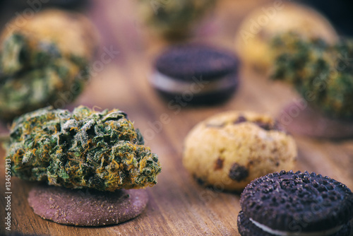 Cannabis nugs over infused chocolate chips cookies - medical mar