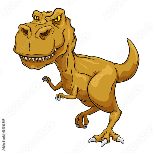 Photo  Tyrannosaurus Rex, T-Rex, Primitive carnivore dinosaur with separate color and outline layers