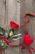 Valentine's Card. Red Rose And...