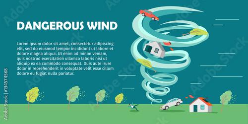Dangerous Wind Flat Design Vector Banner Canvas Print