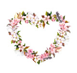 Floral wreath - heart shape. Pink flowers and feathers. Watercolor for Valentine day, wedding in vintage boho style - 134577148