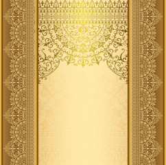 FototapetaVertical background with gold filigree frame border Background oriental gold with lace ornaments