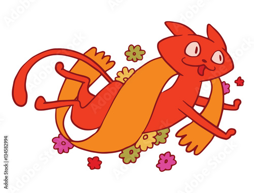 Poster de jardin Chambre bébé Vector emblem with orange banner, colorful flowers and with cartoon image of a cute red cat, running and smiling on a white background. Pet. Positive character. Cat. Vector illustration.