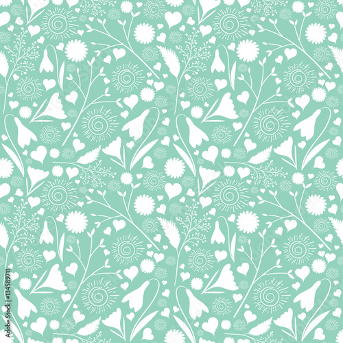 White Flower Pattern Vector Seamless On Mint Green Background Floral Print For Spring Cards Girl Female Design Wedding Invitation Save The Date Baby Or Bridal Shower Buy This Stock Vector And