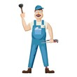 Plumber icon, cartoon style
