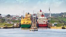 Panama Canal,  A Cargo Ship En...