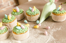 Easter Cupcakes On Wooden Background