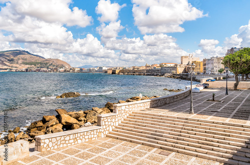 Spoed Foto op Canvas Stad aan het water Sea view of Trapani on Mediterranean, Sicily. Italy.