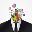 Businessman. Creative abstract head. Vector