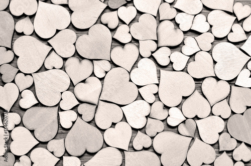 Many wooden hearts as background, valentine day concept.