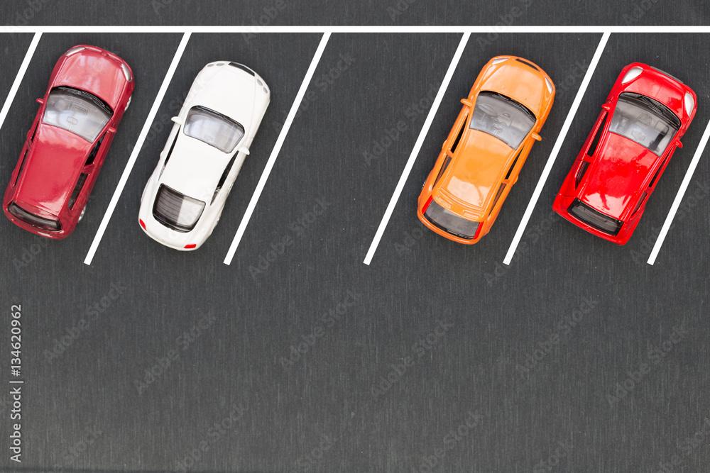 Fototapeta Top view of parking lane