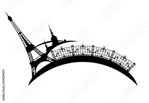 eiffel tower and Paris city sights vector design Wallpaper Mural