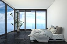 Minimalist Bedroom With Panoramic View