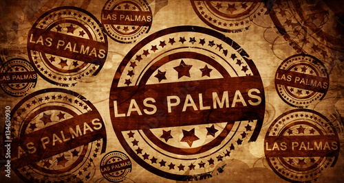 las palmas, vintage stamp on paper background