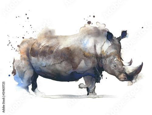 Fotografija  Rhinoceros african safari animal watercolor painting illustration isolated on wh
