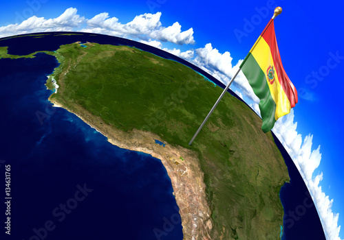 Bolivia National Flag Marking The Country Location On World Map 3d