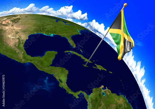 Jamaica national flag marking the country location on world ...
