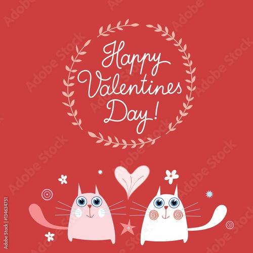 Fototapety, obrazy: Happy Valentine`s Day. Pretty kitty fall in love.