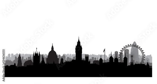 London city buildings silhouette. British urban landscape. London cityscape with landmarks. Travel UK skyline background. Vacation in Europe wallpaper.