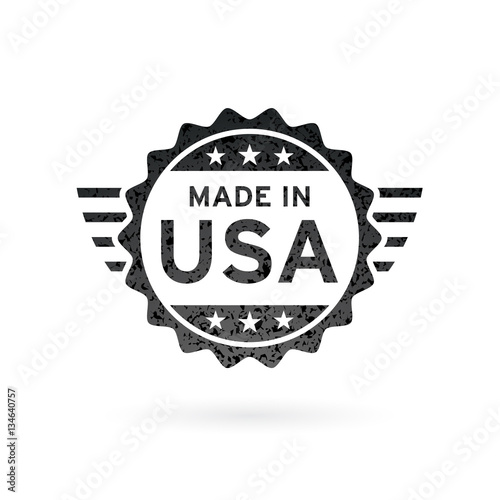 Photographie  Made in USA icon concept badge design with grunge black American flag emblem isolated on white background