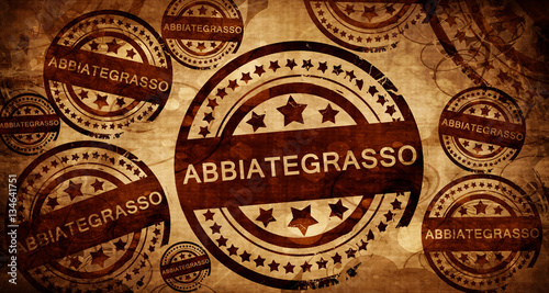 Photo Abbiategrasso, vintage stamp on paper background