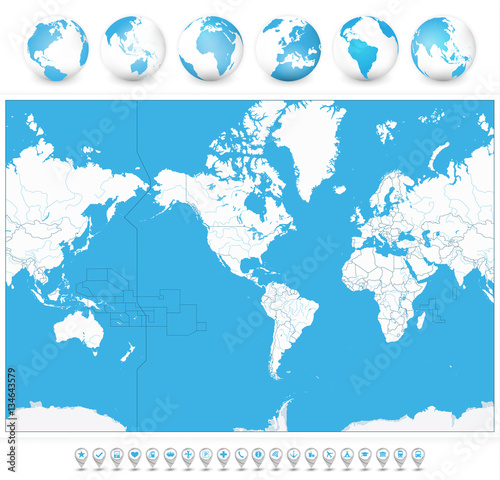 America centered blank world map and 3d globes and navigation icons america centered blank world map and 3d globes and navigation icons highly detailed vector illustration gumiabroncs Choice Image