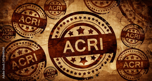 Acri, vintage stamp on paper background Canvas Print