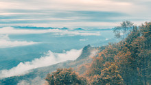 "Beautiful Landscape Image Of The Mist On Mountain Peaks At Sri Nan National Park Call ""Doi Samer Dao"", One Of The Most Popular Place In Thailand For Tourists"