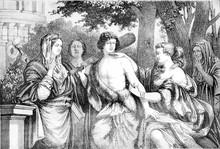 Louvre Museum, Hercules Between Vice And Virtue, Vintage Engravi