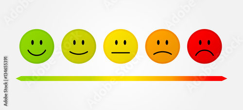Cuadros en Lienzo Set 5 faces scale - smile neutral sad - isolated vector illustration