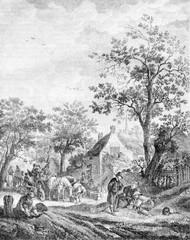 Flemish halt array Isaac Van Ostade, vintage engraving.