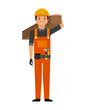 construction worker cartoon icon over white background. colorful design. vector illustration