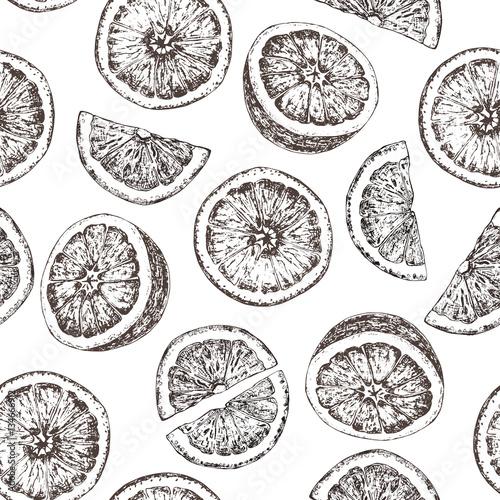 Bezszwowy wzór odosobnione ręki rysować pomarańcze w nakreślenie stylu.