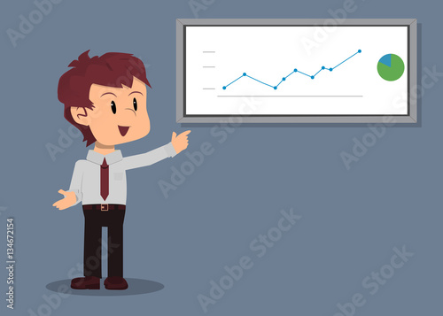 Fotografie, Obraz  Empleado mostrando gráfica en ascenso en junta de negocios