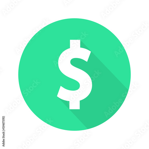 Fototapeta Dollar sign flat icon vector obraz