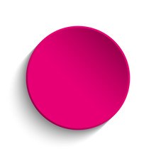 Pink Button On White Background