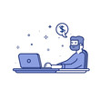 Vector illustration of blue icon in flat line style. Linear cute and happy man with laptop. Graphic design concept of online work or freelance use in Web Project. Outline isolated object.